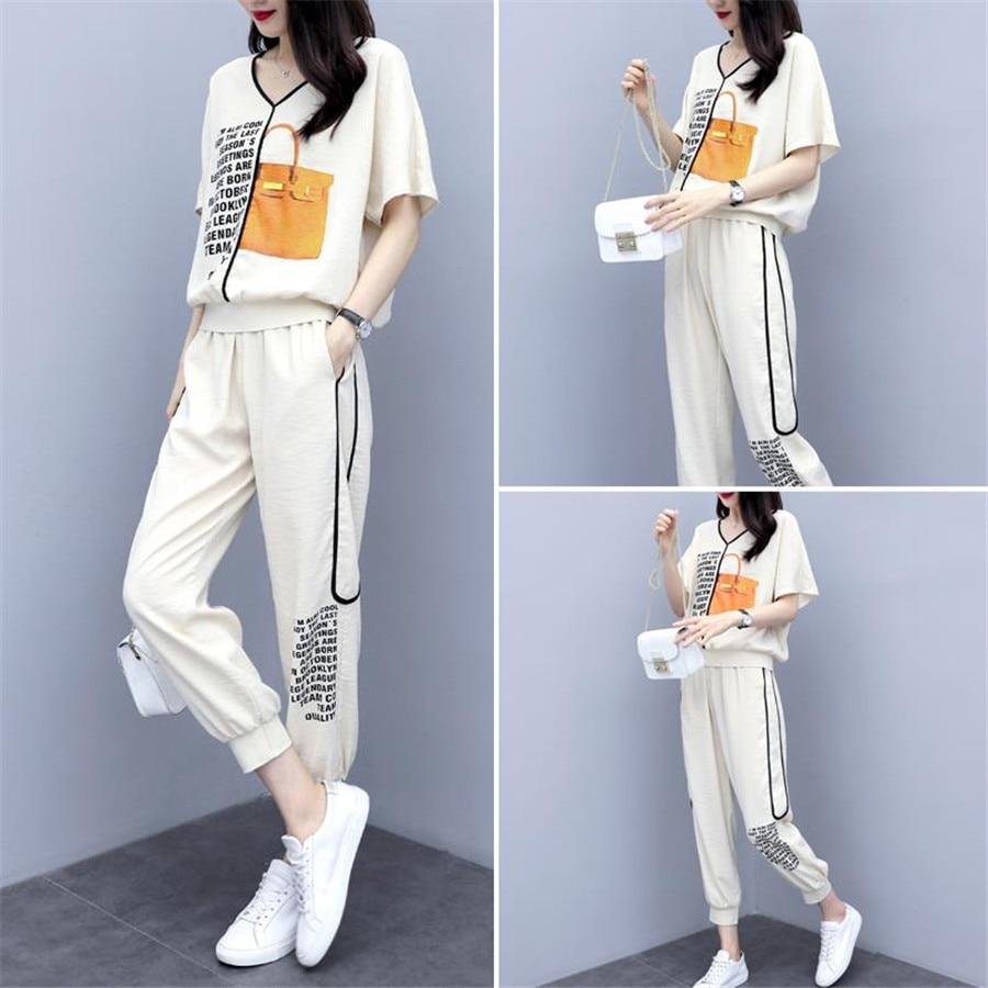 Весенне летние женские спортивные костюмы 2020, повседневный женский комплект одежды из 2 предметов + штаны, повседневная женская спортивная одежда больших размеров 4XL Спортивные костюмы      АлиЭкспресс