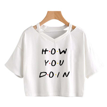 Summer HOW YOU DOIN Printed Women T-shirt White V-Neck Sexy Crop Tops Female Plus size Tshirt Casual Loose Harajuku girl Tee top
