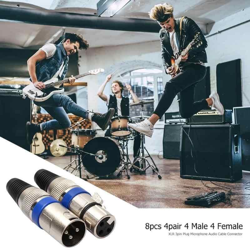Hoge Kwaliteit 8 Stuks 4 Mannelijke 4 Vrouwelijke Xlr 3Pin Plug Microfoon Audio Kabel Connector Adapter Mini Draagbare Accessoires
