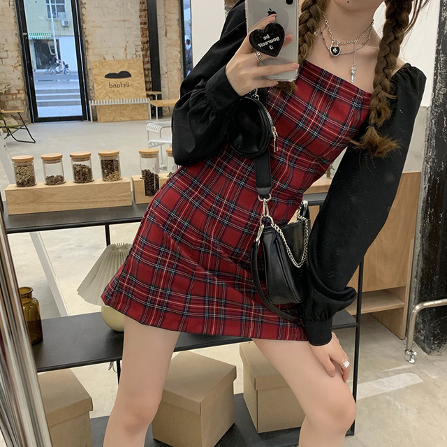 Preppy style Gothic Womens Girls Vintage Plaid Dress Patchwork Puff Sleeve Sexy Party Female Mini Short Dresses 2