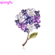 Qiongfu Exquisite Crystal Flower Brooch All-match Elegant High-End Garment Accessory Zircon Brooch Scarf Buckle hot sale korean brooch high end zircon flower scarf small brooch dual use fashion butterfly shape pin jewelry factory direct