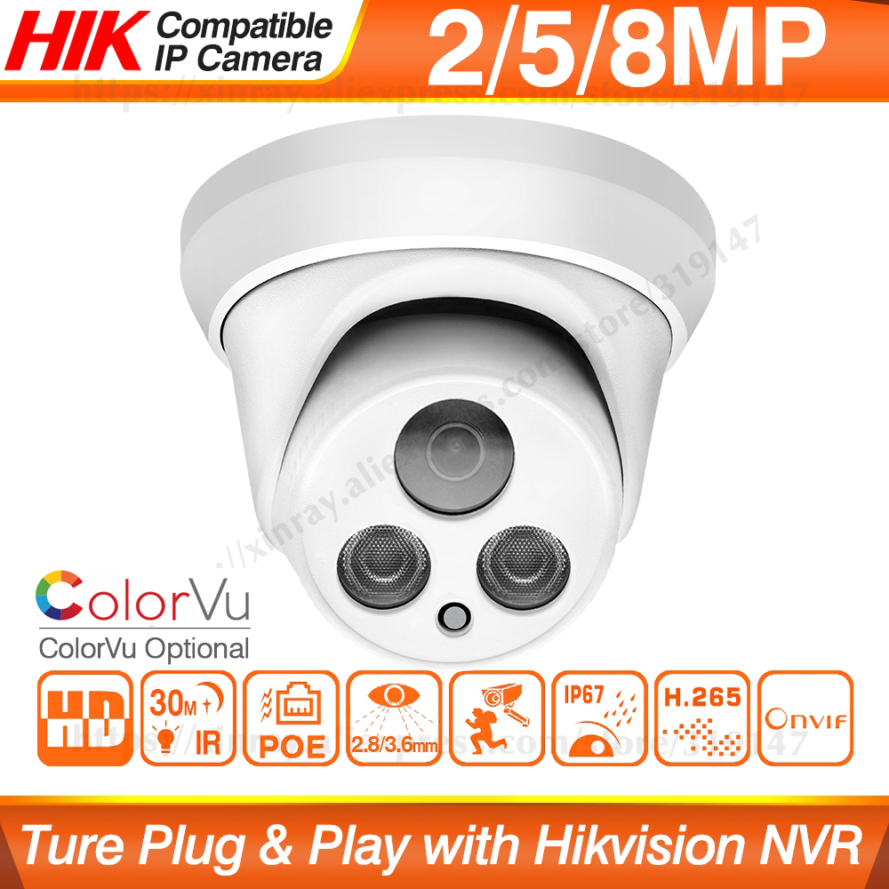 Ip-Camera Play Colorvu Hikvision Compatible Dome Poe Security H.265 ONVIF 8MP IPC 30m