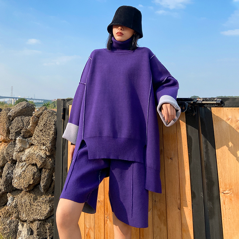 Large size suit 2020 new women's autumn and winter thickened turtleneck sweater shorts two piece set