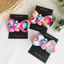 Sweet Candy Color Rainbow Unicorn Hair Bows Clips Stripes Hair Clips for Girls Princess School Party Hair Pin Hair Accessories(China)