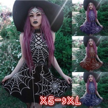 feecolor Womens Fashion Gothic Dress Spider Web Print Sleeveless Halter Punk Style Mini Short Witch Cosplay Costume