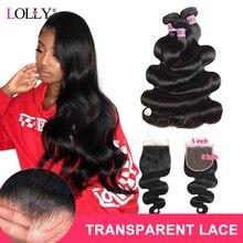 Lolly Transparent 5x5 Closure with Bundles Brazilian Body Wave Bundles With Closure Human Hair Bundles with Closure Non Remy