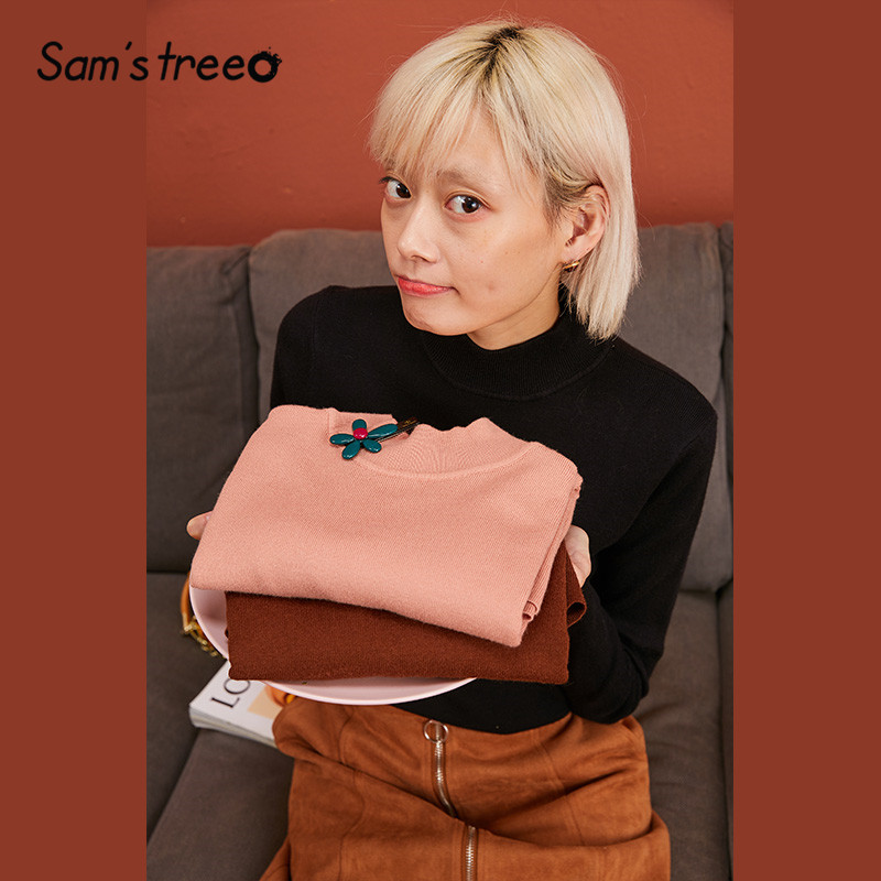 SAM'S TREE Multicolor Solid Knitted Pullovers Women Sweaters 2019 Winter Minimalist Style Pure High Neck Office Ladies Basic Top
