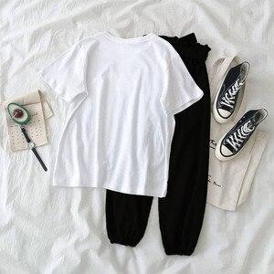 Image 5 - Комплект из двух предметов топ и штаны спортивный костюм для женщин 2019 большие размеры летняя и осенняя одежда для клуба Повседневная белая одежда Женский комплект 2 шт