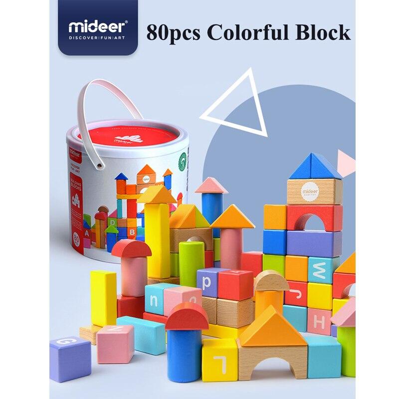 Blocs de construction en bois MiDeer bébé gros blocs jouets éducatifs 80 pièces boîte cadeau de noël jouets d'apprentissage pour enfants> 12 mois