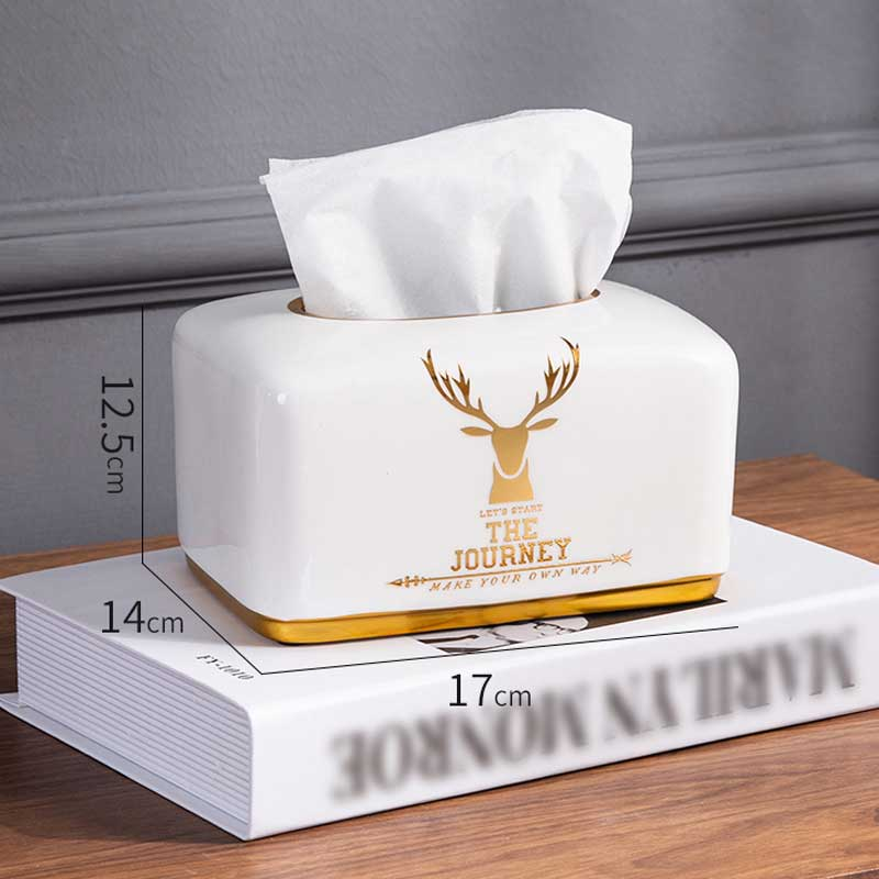 Nordic Home Decor Deer Napkin Paper Holder Ceramc Tissue Box For Room Hotel Restaurant Kitchen Utensils Table Storage Organizer