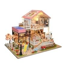 Hoomeda-Diy деревянный миниатюрный кукольный домик для детей DIY Кукольный дом ребенок ручной сборки модель дома игрушка подарок на день рождения