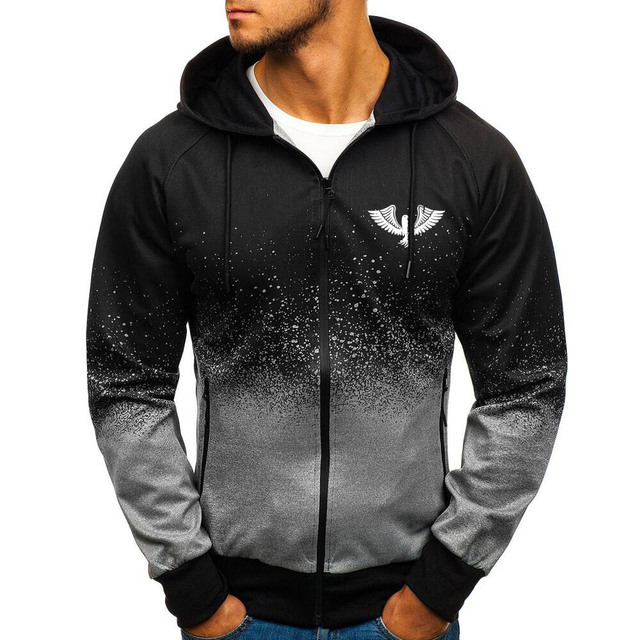Jacket Casual Gradient color Hooded Sweat shirts zipper Hoodies Man Clothing 1