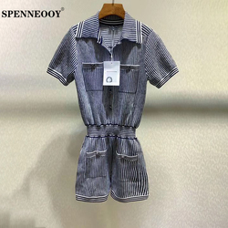 SPENNEOOY Designer Nach Runway Mode Weibliche Sommer Büro Stricken Playsuits Frauen Elastische Taille Striped Stricken Strampler Shorts