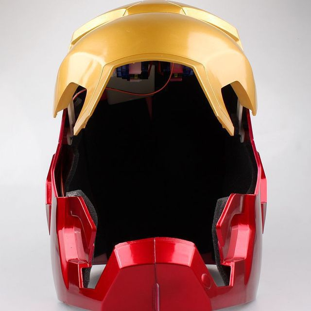 [Funny] The avengers super hero Iron Man Helmet electronic Mask PVC Figure Toy with LED Light Collection Model adult Size 5