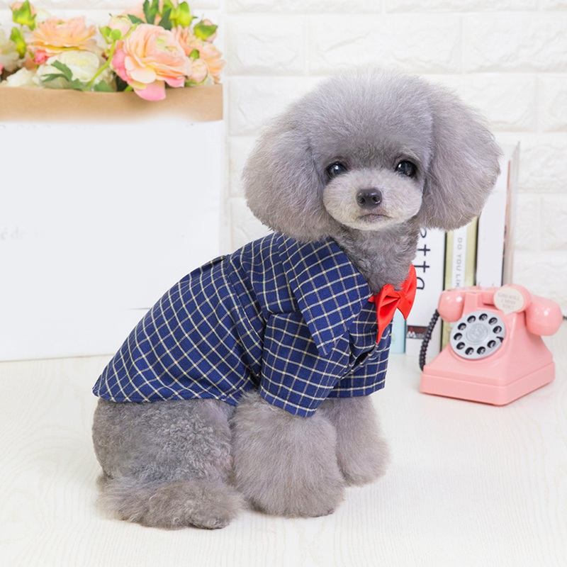 Dog Plaid Shirt With Red Bow Ties British Style Gentleman Shirt Pet Dog Cats Casual Clothes Cotton Shirt For Small Dogs 5 Sizes