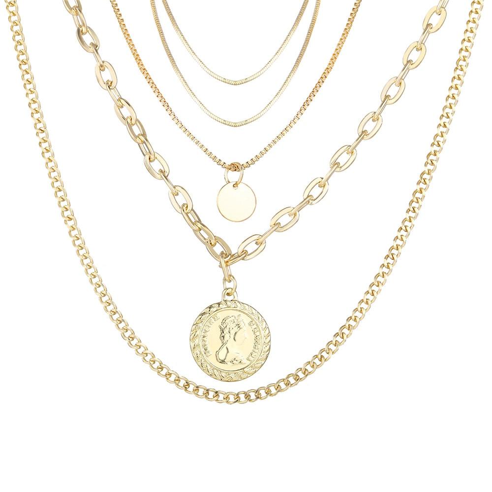 17 км винтажная Золотая монета с портретом, жемчужное ожерелье с подвеской s для женщин, богемное Модное Длинное Ожерелье из муклтилятора с жемчугом, ювелирное изделие - Окраска металла: CS5438