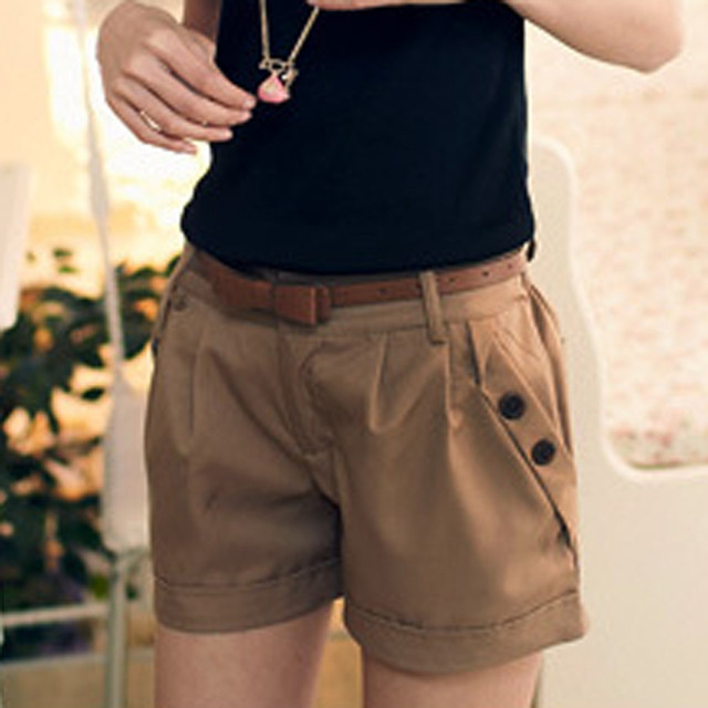 Women Solid England Style Mid Waist Button Fly Shorts Women's Casual Summer Pantalones Women Slim Large Size Pocket Shorts 3