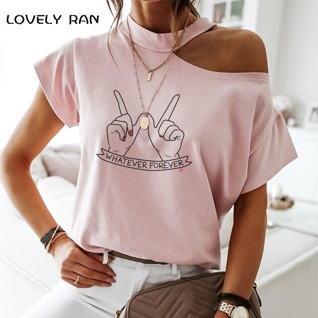 100% Cotton Women Tshirt Short Sleeve Cold Shoulder Art Print Aesthetic Halter T-Shirt Female Tops Casual Streetwear 2021 Summer 1