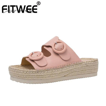 FITWEE Women Sandals Shoes Designer High-Quality Real Genuine Leather Shoes Women Fashion Buckle Slip On Footwear Size 34-39