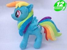 """Unicórnio arco íris cavalo pelúcia ação brinquedo figuras 12 """"30 cm"""
