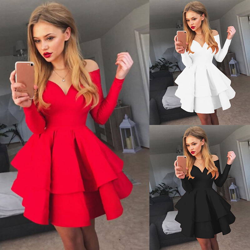 2020 Sexy V Neck Long Sleeves A Line Tiered Jersey Mini Cocktail Dresses Zipper Back Off Shoulder For Cocktail Party Women Dress