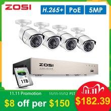 ZOSI H.265 + 8CH 5MP POEชุด4PCS 5MP HD IP Cameraกล้องวงจรปิดกันน้ำกลางแจ้งบ้านการเฝ้าระวังวิดีโอNVRชุด