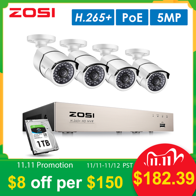 ZOSI H.265+ 8CH 5MP POE Security Camera System Kit 4PCS 5MP HD IP Camera Outdoor Waterproof CCTV Home Video Surveillance NVR Set