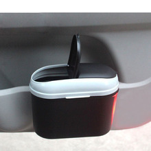 Car Trash Bin Organizer Rubbish Trash Can Suspension Garbage Can Double-open Cov