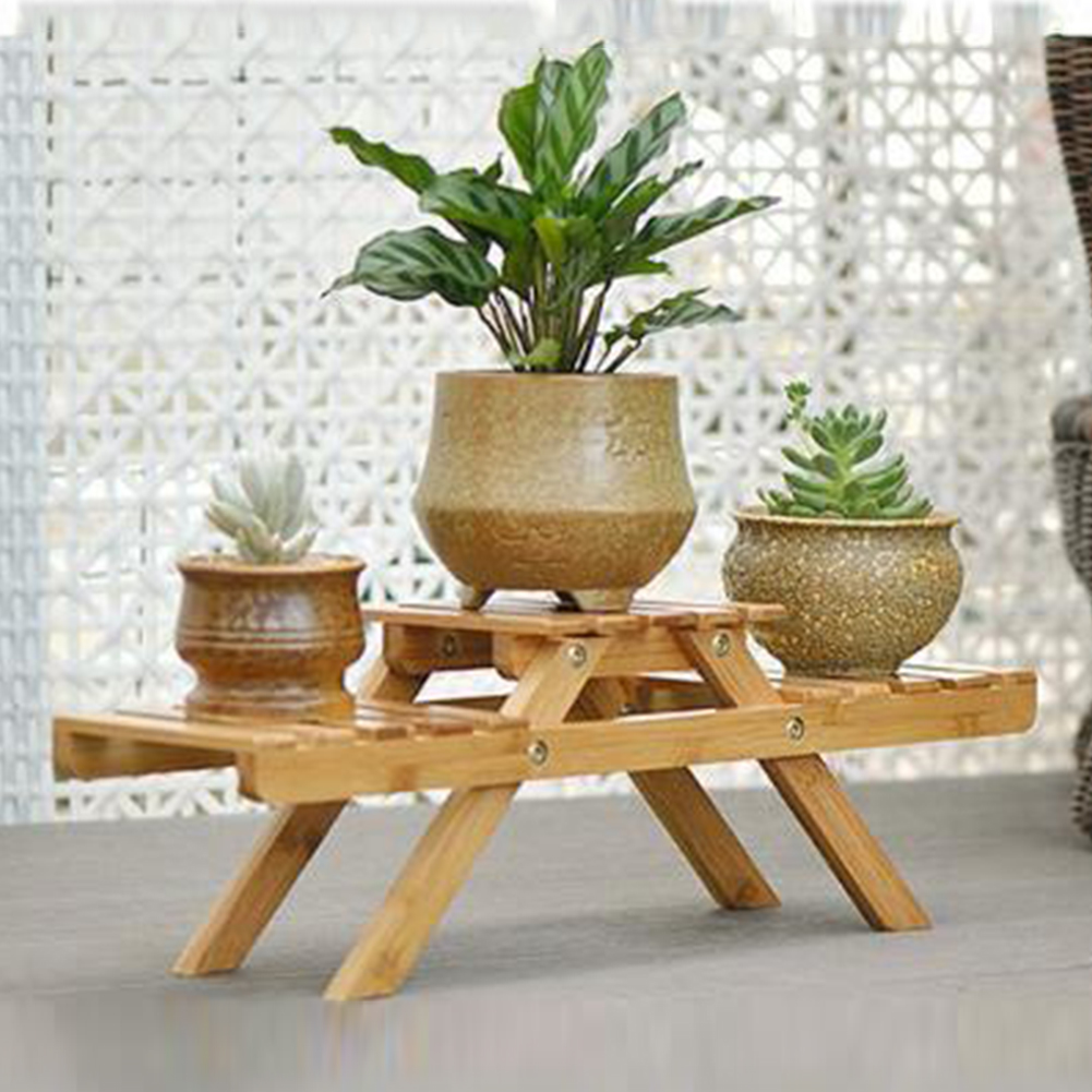 Multilayer Bamboo Indoor Holder Plant Garden Table Outdoor Display Stand Living Room Planter Flower Shelf Home Decor Pot Rack