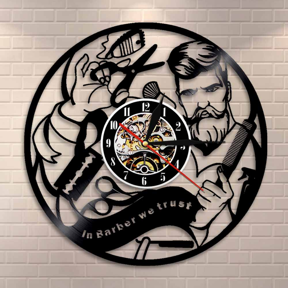 Barber Shop Wall Sign Wall Clock Hairdresser Vinyl Record Wall Clock Hair Salon Decorative Modern Clock Hipster Gift