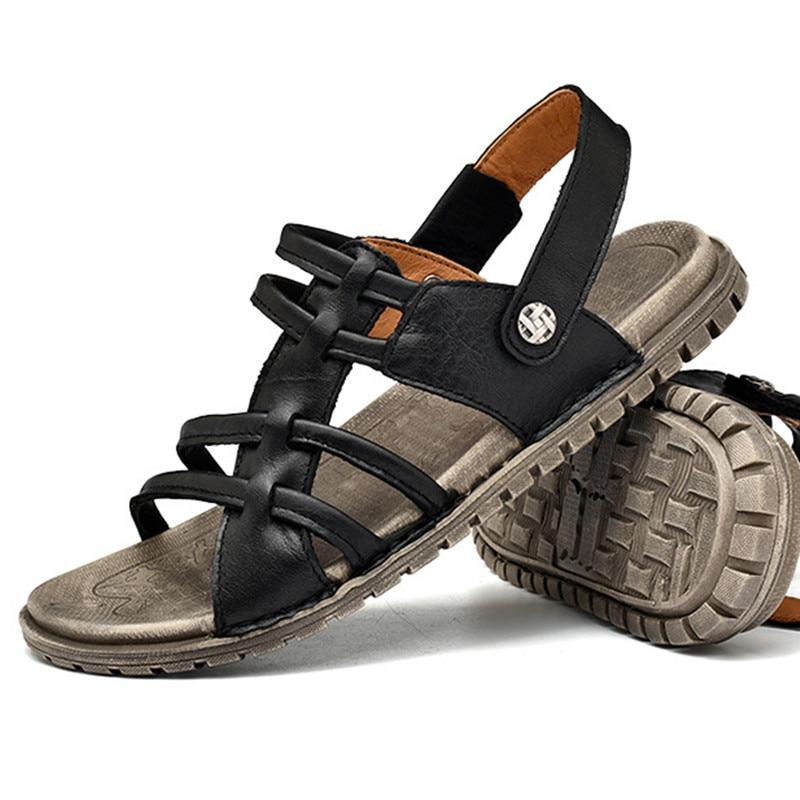 Мужские повседневные сандалии, мужские сандалии из мягкой воловьей кожи, Летние кожаные сандалии, мужские римские летние пляжные сандалии