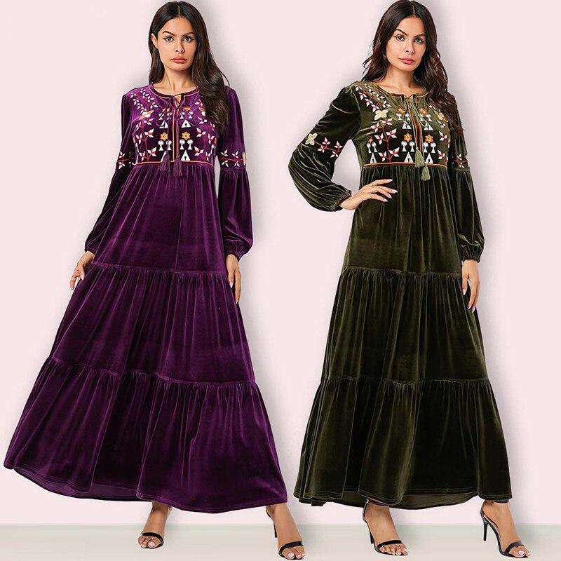 Velvet Abaya Dubai Turkish Dresses Long Sleeve Hijab Muslim Dress Islamic Clothing Abayas For Women Caftan Kaftan Robe Islam UAE
