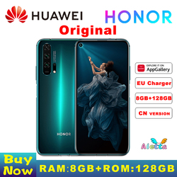 Оригинал, Huawei Honor 20 Pro 8 Гб оперативной памяти 128G ROM полноэкранном режиме камера AI Octa Core с функцией отпечатка пальца ID NFC android 9 мобильного телеф...