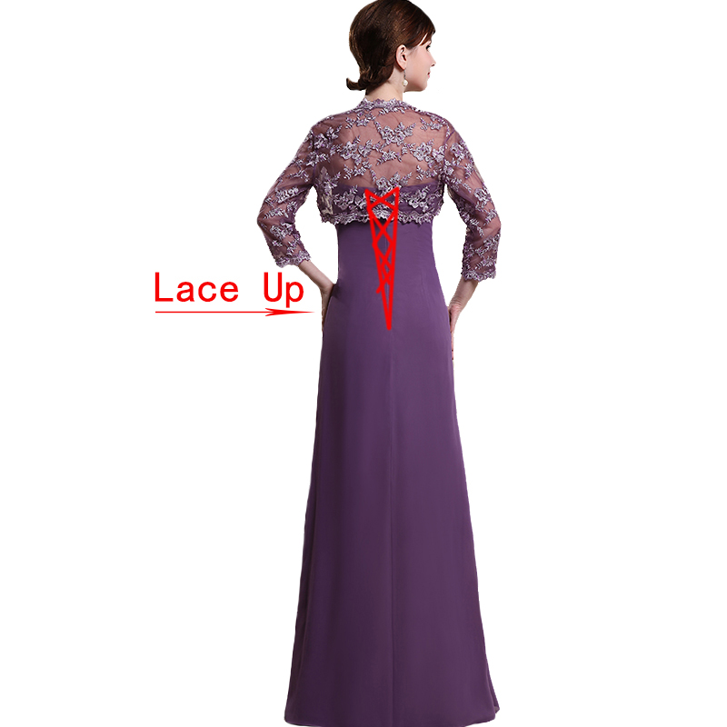 2019 Two Pieces Mother of The Bride Dresses With Lace Jacket 3/4 Sleeves Plus Size Mother of the Groom Dress for Weddings Party