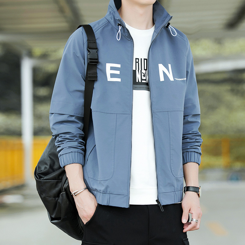 Jacket Man Collar Slim Men Jacket Casual Solid Color Mens Jacket Trend Wild Men'S Baseball Clothing  Large Size Male Clothing