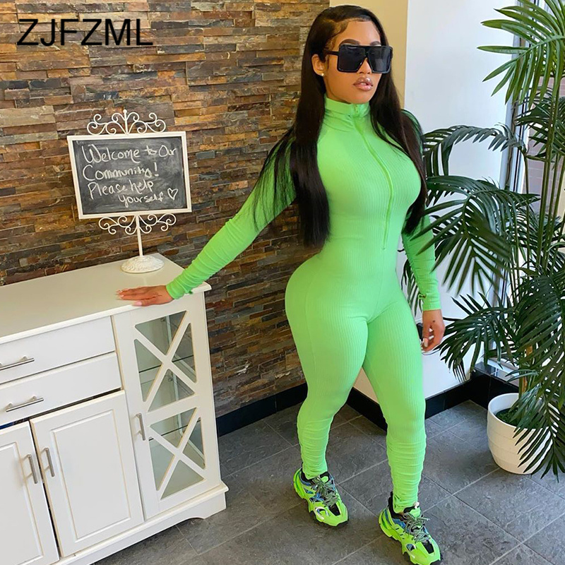 High Elastic Rib Rompers Womens Jumpsuit High Necked Long Sleeve Fitness Bodysuit Casual Front Zipper Plus Size Tight Catsuits
