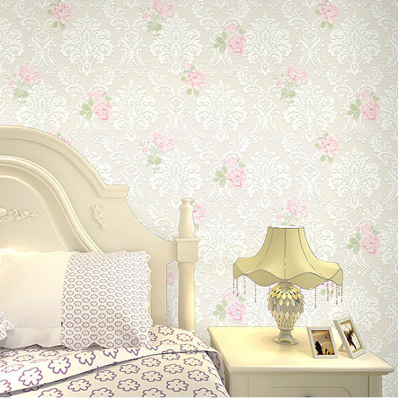 Warm And Romantic Non-woven Wallpaper Pink Pastoral Style Color TV Backdrop Living Room Bedroom Girl'S Room Wallpaper