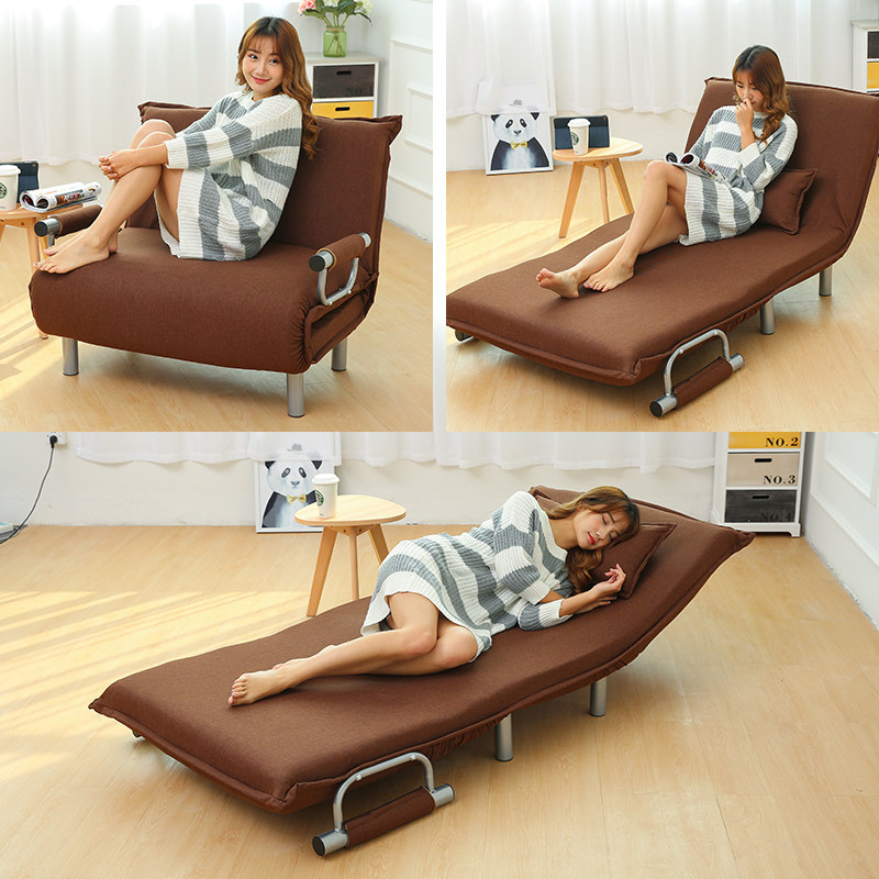 Folding Sofa Bed Armchair Sleeper Leisure Recliner Fabric Breathable Lazy Sofas Single Living Room Lounge Chair Bed Furniture image