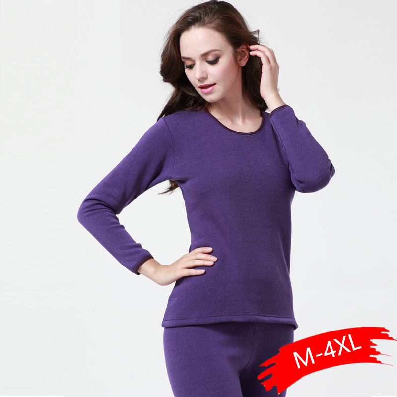 2019 Winter Thick Women Thermal Underwear Sets Tops+Pants Long Johns Keep Warm Tmall Winter Thicken Cold Weather