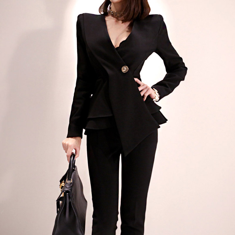 Women's New Office Ladies Two-piece Temperament V-neck Waist Ruffled Jacket+nine Pants 2 Sets Of Fashion Professional Pants Suit