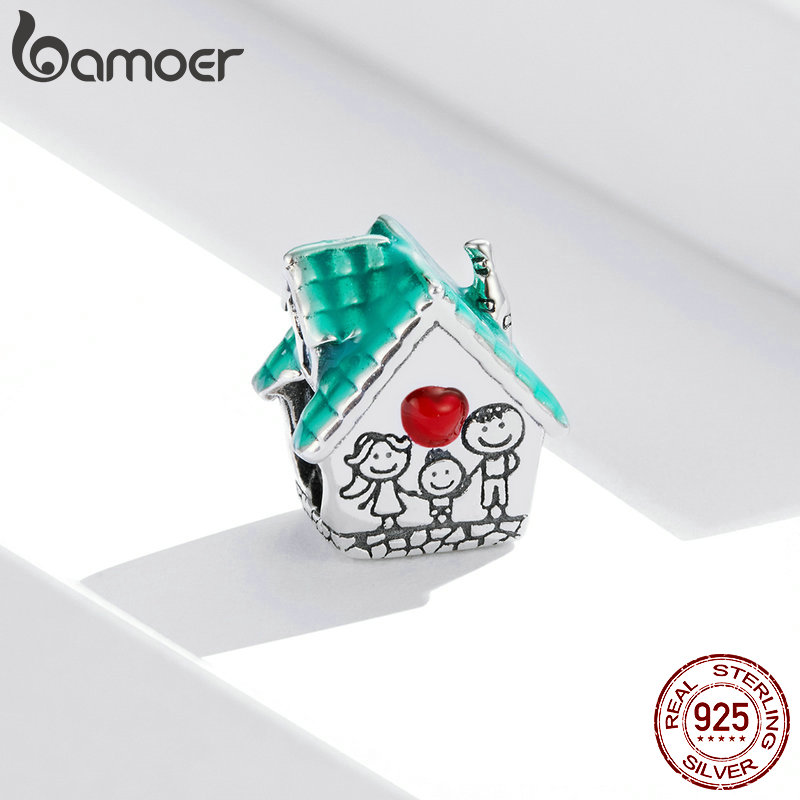 bamoer 925 Sterling Silver Happy Family Sweet House Metal Beads for Women Original 3mm Bracelet DIY Jewelry SCC1518