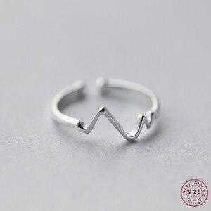 Image 1 - WANTME ของแท้ 100% 925 เงินสเตอร์ลิงเปิดส่วนบุคคลเรขาคณิตหยักแหวนสำหรับอุปกรณ์เสริมสำหรับผู้หญิงเครื่องประดับ