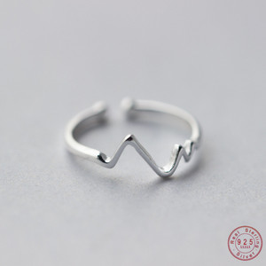 Image 1 - WANTME Genuine 100% 925 Sterling Silver Opening Adjustable Personalized Geometric Wavy Rings for Women Party Accessories Jewelry