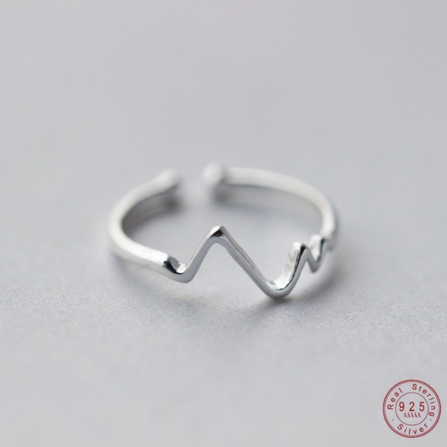 WANTME Genuine 100% 925 Sterling Silver Opening Adjustable Personalized Geometric Wavy Rings for Women Party Accessories Jewelry