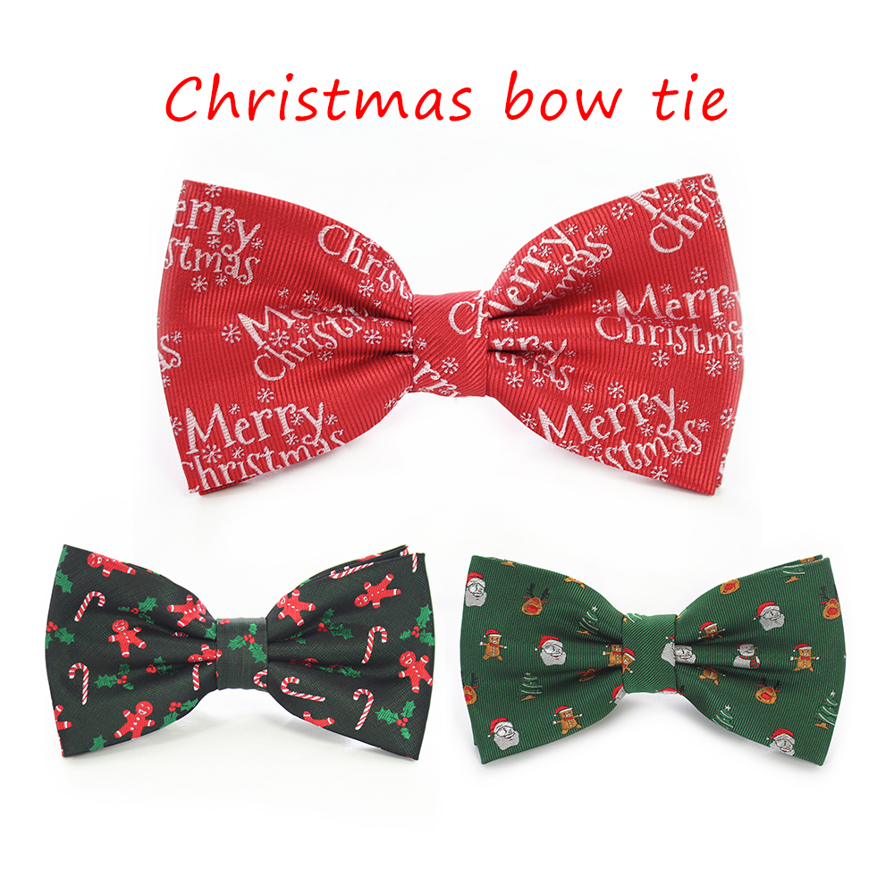 KAMBERFT 2019 Newest Christmas Design Bow Tie Snowflake Tree Deer Old Man Cartoon Christmas Bowtie For Men & Boy Festive
