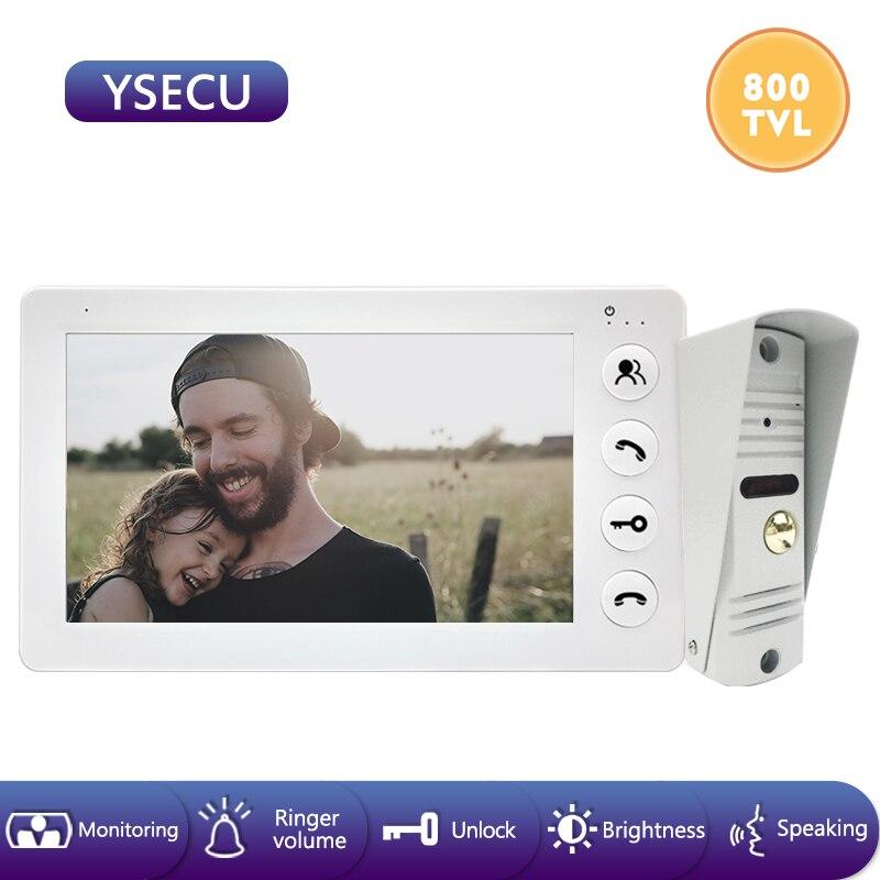 YSECU 7''Wired White Video Monitor Video Doorbell Intercom Color LCD,Built-in Power Supply ,Unlock Talking Video Door Phone