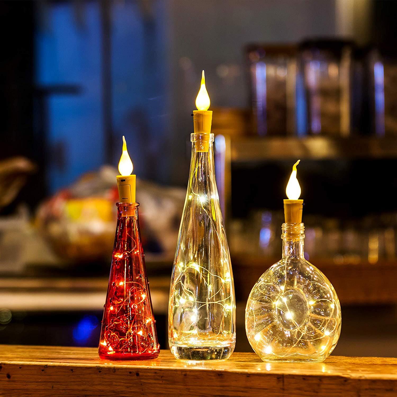Wine Bottle Lights Candle String Lights 20 LED Warm White Cork Shape Silver Copper Wire Colorful Fairy Mini String Lights DIY in Lighting Strings from Lights Lighting