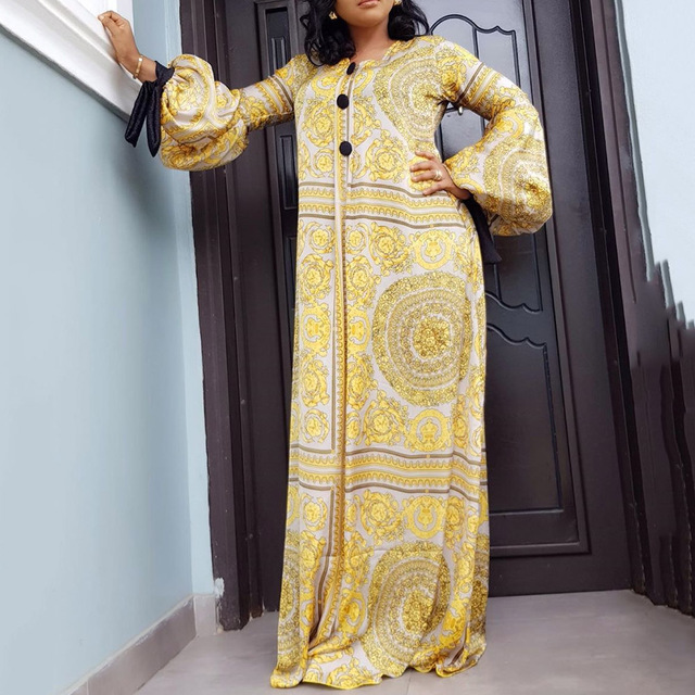 Autumn Long Sleeve Maxi Dress African Ladies Rich Bazin Golden Print Vintage Plus Size 3XL Floor Length Women Party Long Dress 2