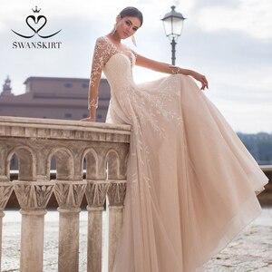 Image 2 - Vintage V Neck Wedding Dress 2020 Swanskirt Long Sleeve Appliques Backless A Line Illusion Princess Bride Vestido de noiva K150