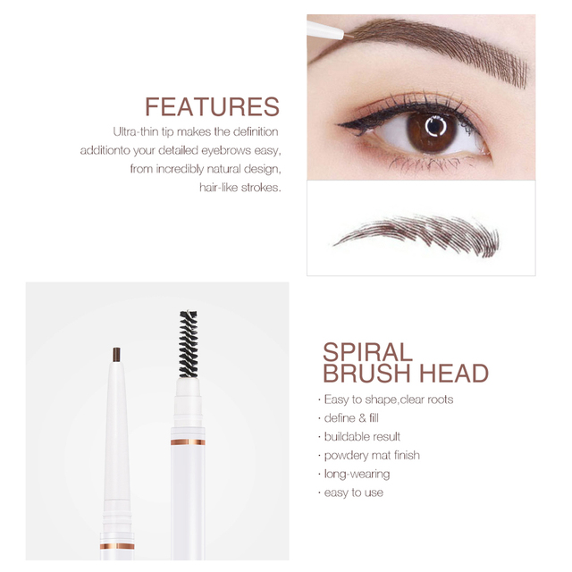 O.TWO.O Eyebrow Pencil Waterproof 4 Colors Double Ended Eyebrow Pencil Eye Brow 1.5mm Pen Brown Cosmetic Beauty Makeup 2